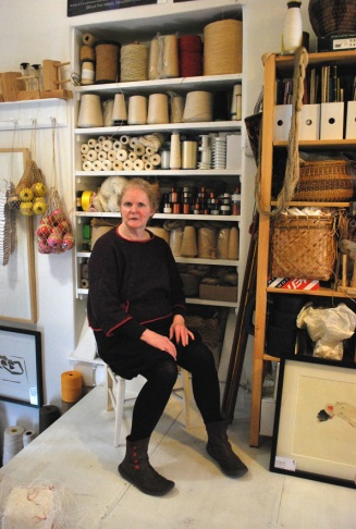 Sue Hiley Harris in her studio - 2018 Photo - Tiff Oben