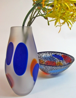 Multi Dot Vase and Geko Bowl