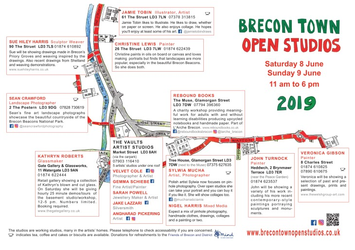 2019 Brecon Town Open Studios map-poster page 2
